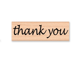 Large thank you rubber stamp~large stamp~three inches~script font~ stamp by Mountainside Crafts (43-01)