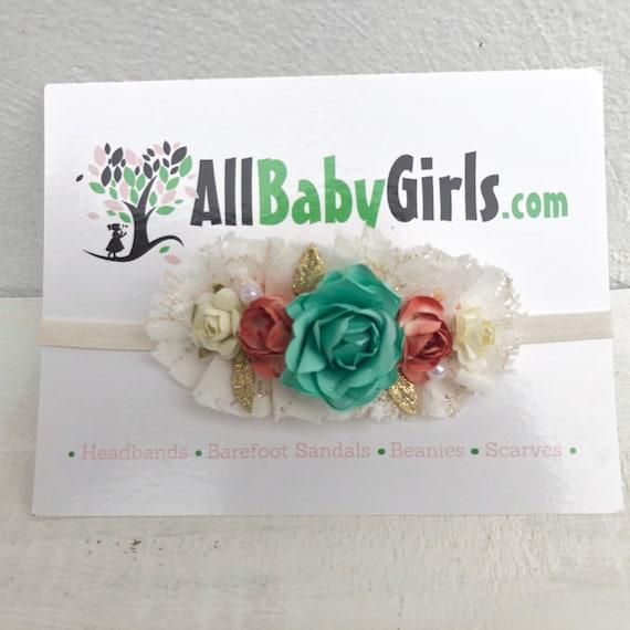 Baby Headband, Beige Headband, Flowers Headband, Baby Head Wraps, Newborn Headband, Infant Headbands, Flower Girl Headband, Flower Girl
