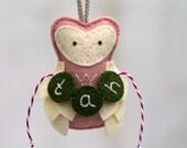 Personalized Owl Ornament Felt. Plush First Christmas Ornament Keepsake. Baby Girl Monogram. Blush Pink Christmas.