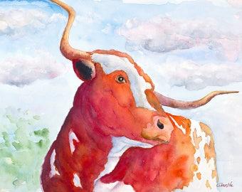 Texas longhorn print original cow painting longhorn painting longhorn art canvas rustic ranch western art farm longhorn wall art
