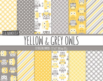 Yellow Owl Digital Paper Pack. Cute Owl Patterns with Yellow and Grey Backgrounds. Digital Scrapbook
