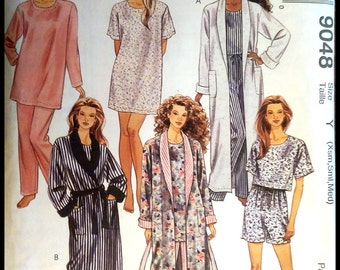 McCall's 9048  Misses' Robe with Tie Belt, Tunic, Top, Pants And Shorts   Size (XS-M)  UNCUT