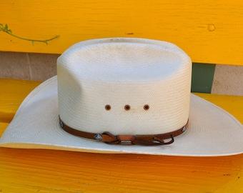 Vintage Stetson Men's Cowboy Hat Straw 8X size 7 1/8
