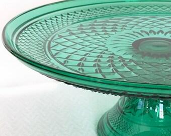 Anchor Hocking Wexford Diamond Cut Green Glass Cake Stand