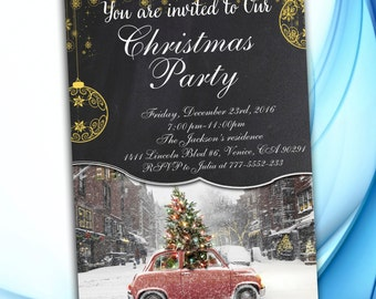 Christmas Party Invitations, Chalkboard Invitation Printable, Christmas Invitation, Holiday Party Invitation, Christmas Cards