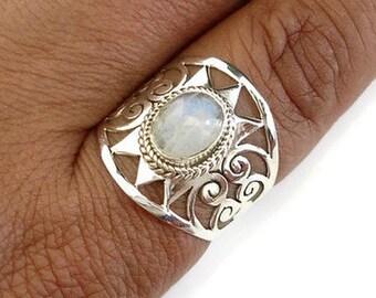 Moonstone Spiral Filigree Wide Ring, Moonstone Ring, Statement Ring, Birthstone Ring, Long Ring, Boho Rings, Gemstone Ring, Mistry Gems, R2M