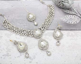 Silver Indian Bollywood Necklace Set with Earrings, Tikka Headpiece  Bridal Wedding