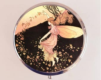 Fairy Leaves Pill Box Case Pillbox Holder Trinket Stash Box Fairy Tale Fall Fairytale Storybook