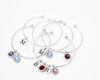 Personalized Silver Bracelet - Sterling Silver - Graduation Gift - Birthday Gift - Simple Bracelet - Simple Birthstone Bracelet For Mom