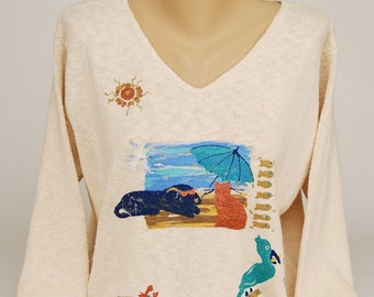 Hand Painted 100% Cotton Sweater 'DAY at the BEACH' dog, cat, pelican, crab, beach, fish, fishing'-design on  Natural Sweater
