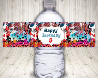 Hip Hop, Graffiti, Water Bottle Label,  Graffiti Art, Graffiti Birthday, Hipster, Party, Gift, 90s Party, 80s Theme Party, Rainbow Graffiti