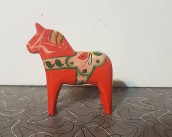 Swedish Dala Horse Nils Olsson Scandinavian Modern Hand Painted Wooden Dala Horse Figurine