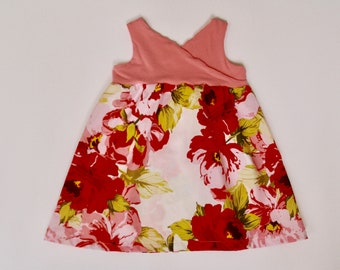 Summer dress, 12-18 months, ready to ship, toddler dress, baby dress, dress with back detail, Floral, Easter dress