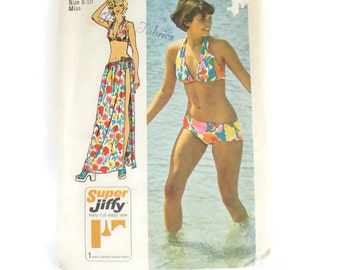 Vintage 1970s Simplicity 5644 Size 8 to 10 Juniors Bikini Swim Suit or Beach Wrap Pattern 32 bust