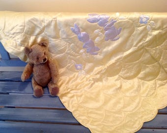 Vintage Satin Baby Quilt / Blanket - Hand Appliquéd - Hand Embroidered - Bunnies and Flowers