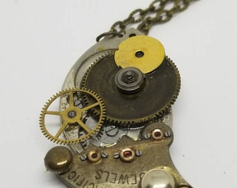 Vintage steampunk inspired recycled watch piece necklace! Antique steam punk gift - Watch piece necklace - Handmade jewelry - One of a kind-