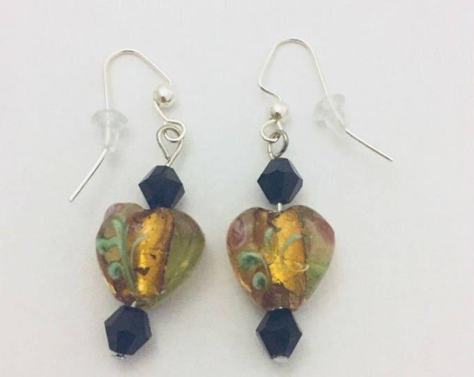 Beaded Earrings, Dangle Earrings, Drop Earrings, Yellow Lampwork Beads, Black Swarovski Beads, Silver Earring Wires, 1.5 inches long