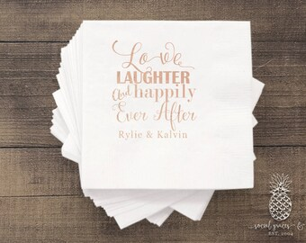 Cheers Love Laughter | Customizable Cocktail Napkins | Wedding, Engagement Bridal Parties, Bride Groom Shower | social graces and Co