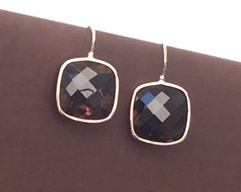 14k solid rose gold and smoky quartz earrings