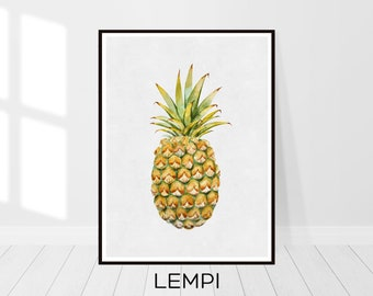 Pineapple Print, Pineapple Printable, Pineapple Decor, Tropical Decor, Fruit Print, Yellow Green, Colourful, Wall Art Gift, Instant Download