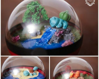 Terrarium Pokeball - Pokemon Bulbasaur, Squirtle, Charmander Version dodo - diameter 12 cm
