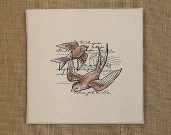 Swallows, Canvas Art, Embrodered Swallows Wall Art, Wall Decor, Parisian Swallows