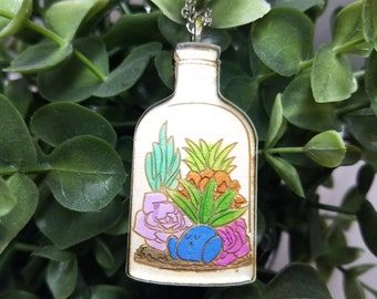 Sleeping Oddish Succulent Bottle Terrarium Pokemon Inspired Necklace | Laser Cut Jewelry | Handmade Necklace