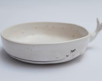 Sleepy whale bowl - ceramic bowl, planter