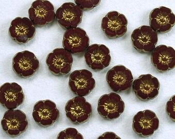 Hibiscus Flowers 9mm Deep Red Opaque Bronze Picasso Czech Glass Beads - 12