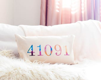 Customized Zip code decorative pillow cover | zip code pillow | Home decor | home pillow | 12 x 20 pillow cover