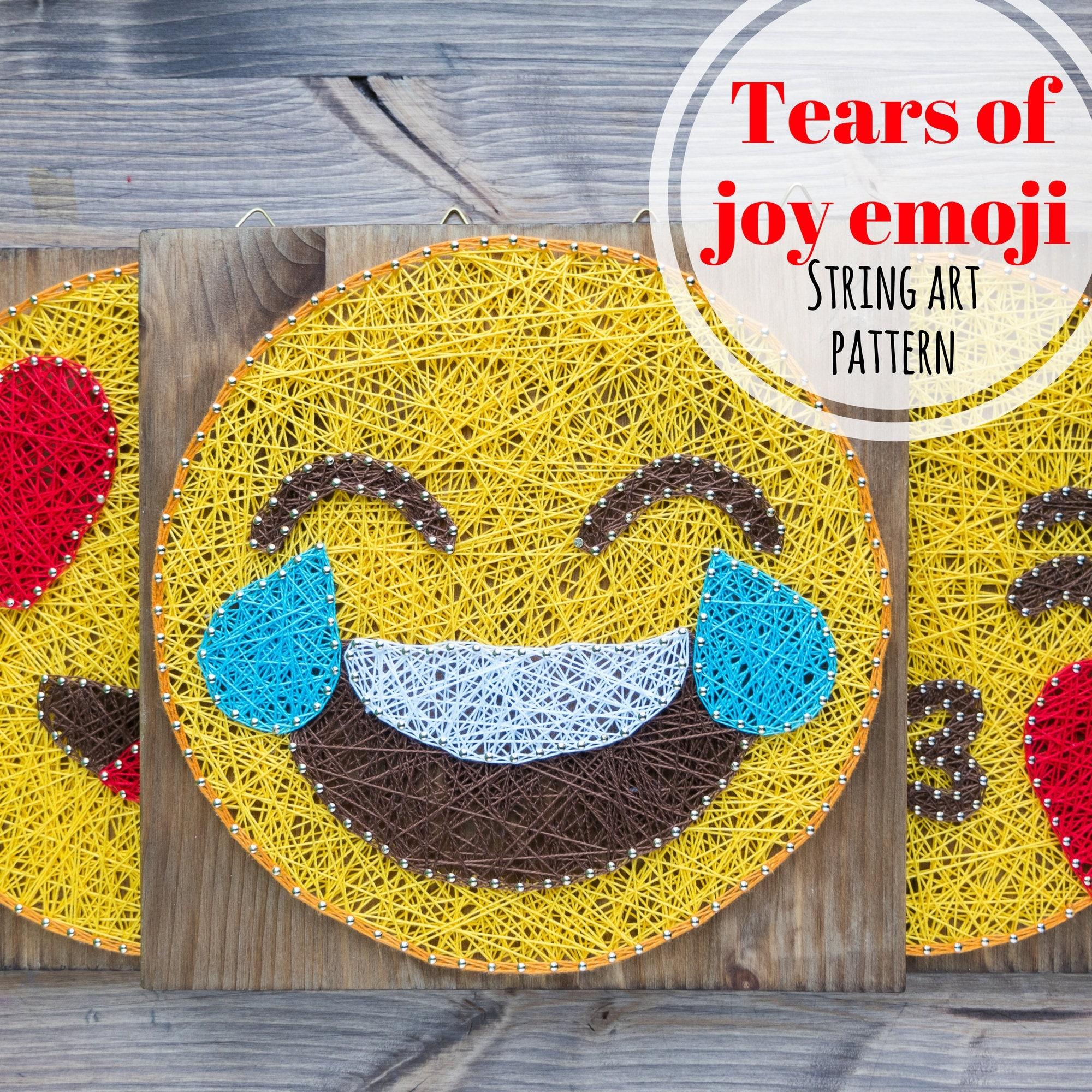 Tears of Joy emoji string art template, pattern, DIY string art dot ...