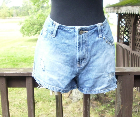 distressed studded shorts denim grunge hipster jean frayed bue jeans  upcycled si 885b79403035c