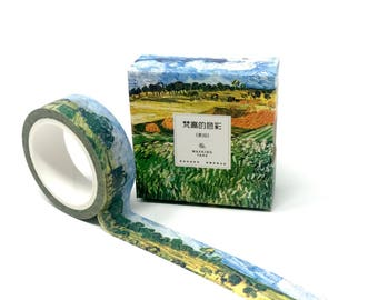 Van Gogh Grass and Wheat Field Washi Tape // Stunning Post-Impressionism Washi Tape Bullet Journal, Planners, and Collages // 15mm/7m