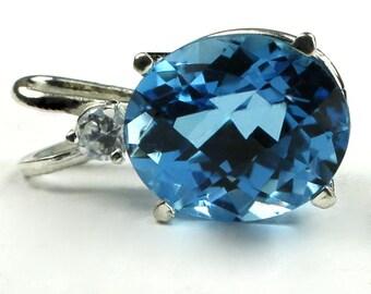 Swiss Blue Topaz, 925 Sterling Silver Pendant, SP022