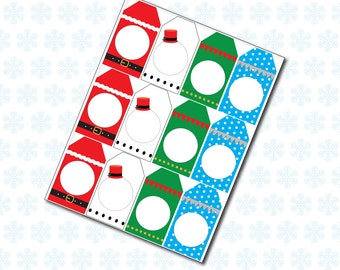 Printable Christmas Character Tags, Gift Labels, 3 sizes, Instant Download