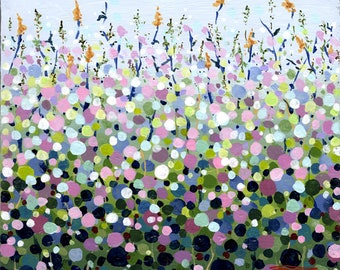 Flower Field Original Abstract Painting, Cradled Wood Panel, Square Art