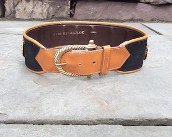 RJ Graziano wide statement belt tan brown black small