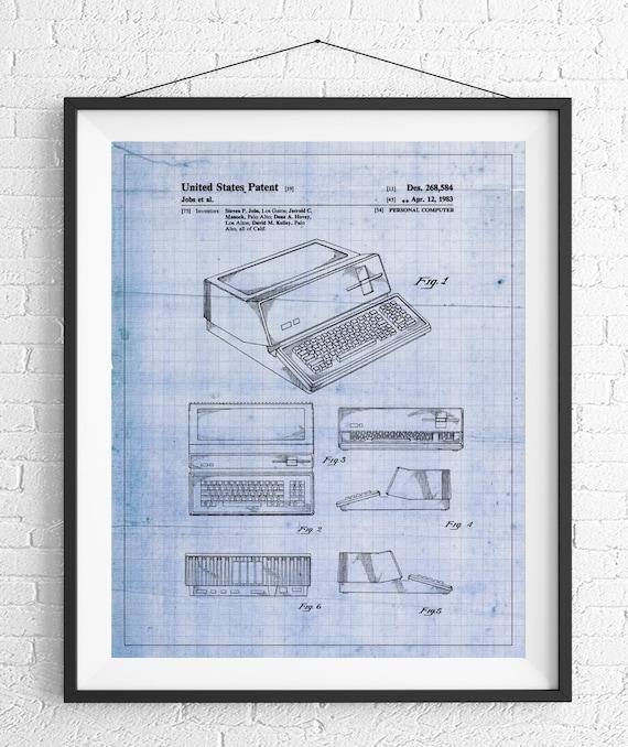 Apple computer patent print apple computer art blueprint like this item malvernweather Image collections