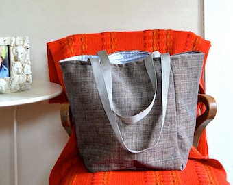 Gray Tote Bag / Medium Sized Lined Tote / Shopping or Project Bag