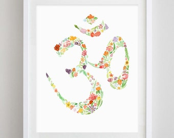 Om Sign Floral Watercolor Art Print