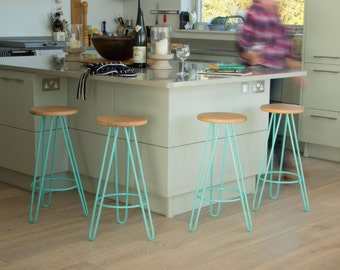 Bar stool, Counter Stool, mid century bar stool, industrial bar stool, Kitchen Bar Stool, Hairpin Legs, Industrial stool, Eames.