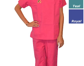 Kids Scrubs with Cure Childhood Cancer Embroidery Design
