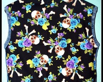 Girls Rockabilly Skulls and Roses Denim Vest....size 8-10