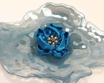 Blue Satin Flower Hair Fascinator, Hair Clip, With Pearl And Silver Button Centre