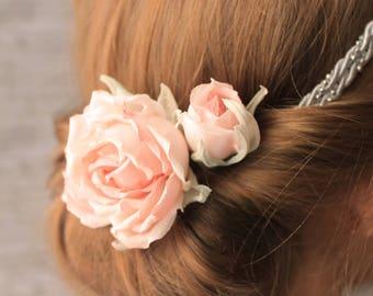 Rosen Haarschmuck Set Rose und Knospe Haarnadeln oder Haarklammer, Hochzeitsfrisur, Brautschmuck, Brautfrisur, altrosa, rose bourbon vintage