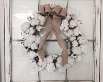20 inch Cotton Wreath