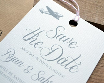 Save the Date - Personalised Destination Wedding Luggage Tag Save the Date including Kraft Envelope