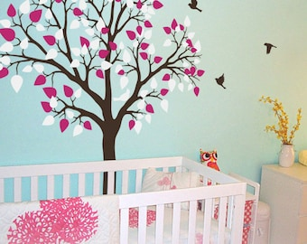 "Baby Nursery Tree Wall Decal Wall Sticker - Tree Wall Decal - Tree Decals Nursery Wall Art Mural - Large: approx 77"" x 61"" - KC020"