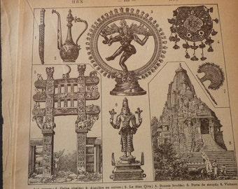 French Lithograph - Hindu Art - 1920s engraving - original - Petit Larrousse