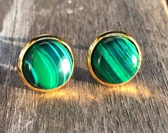 Malachite earrings. Malachite stud earrings, malachite post earrings, green earrings, bridesmaid gift, boho jewelry, boho earrings, gift